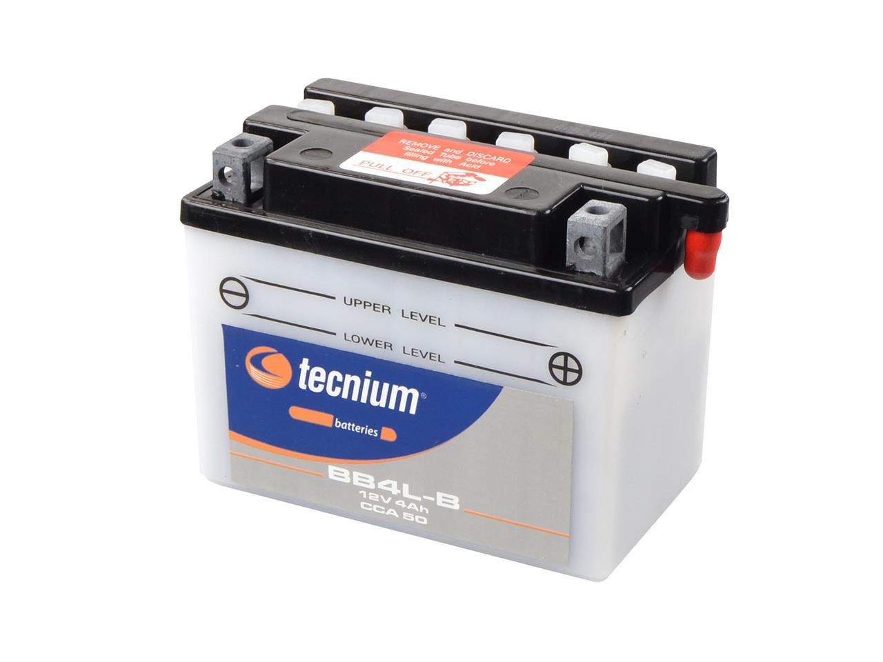 Batterie TECNIUM BB4L-B conventionnelle livrée avec pack acide