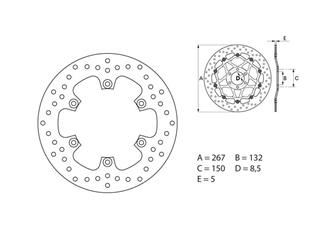 Brembo Serie ORO fixed round rear brake disc for Yamaha Yamaha MT01/XJR 1300