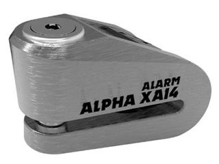 ALPHA XA14 ALARM STAINLESS DISC LOCK (14MM PIN)-STAINLESS/BLACK COVER