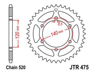 JT SPROCKETS Rear Sprocket 44 Teeth Steel 520 Pitch Type 475
