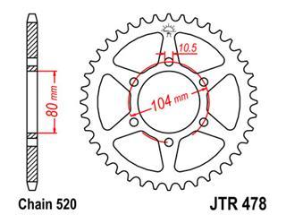 JT SPROCKETS Rear Sprocket 45 Teeth Steel 520 Pitch Type 478