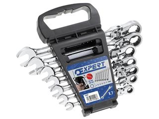 Set of seven Expert articulated combination wrenches, from 8 to 19mm