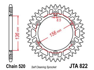 JT SPROCKETS Rear Sprocket 49 Teeth Aluminum Ultra-Light Self-Cleaning 520 Pitch Type 822