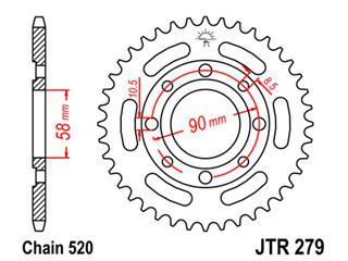 JT SPROCKETS Rear Sprocket 41 Teeth Steel 520 Pitch Type 279
