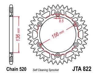 JT SPROCKETS Rear Sprocket 50 Teeth Aluminum Ultra-Light Self-Cleaning 520 Pitch Type 822