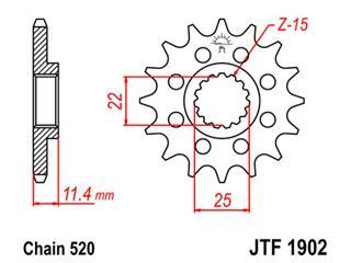 JT SPROCKETS Front Sprocket 14 Teeth Steel 520 Pitch Type 1902 KTM