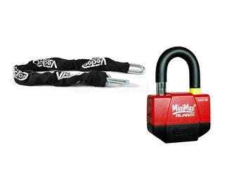 Vector Anti-theft Kit w/ Security Chain 1.10m + MiniMax+ Alarm Padlock/Disc Lock
