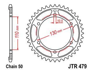 JT SPROCKETS Rear Sprocket 48 Teeth Steel 530 Pitch Type 479