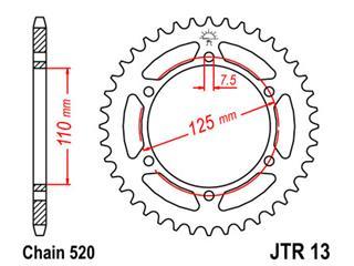 JT SPROCKETS Rear Sprocket 41 Teeth Steel 520 Pitch Type 13
