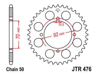 JT SPROCKETS Rear Sprocket 44 Teeth Steel 530 Pitch Type 476