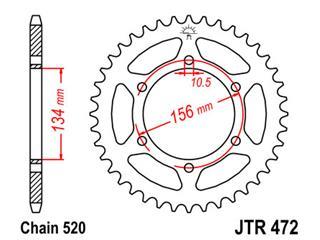 JT SPROCKETS Rear Sprocket 41 Teeth Steel 520 Pitch Type 472