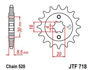 Pignon JT SPROCKETS 13 dents acier pas 520 type 718 - 46071813