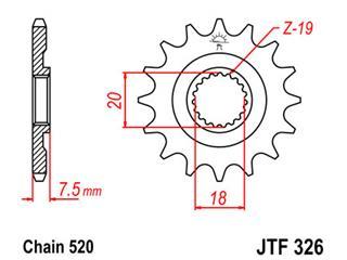 Pignon JT SPROCKETS 13 dents acier pas 520 type 326 Honda CR125R - 46032613