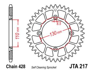 Couronne JT SPROCKETS 55 dents alu ultra-light anti-boue pas 428 type 217 Honda CR80R/CR85R - 470113