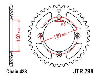 Bakdrev JT 44-Kuggar Stål Standard 428-Pitch typ 798 JTR798.44