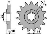 Pignon PBR 14 dents acier standard pas 520 type 2066 Husqvarna SMS125 - 46206614