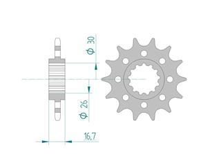 Pignon AFAM 17 dents acier standard pas 520 type 20613 Honda CB 600 F Hornet - 46000504