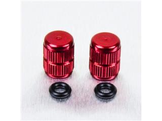 Pair of Pro-Bolt red aluminium tyre valve caps
