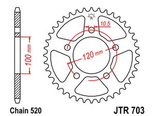 JT SPROCKETS Rear Sprocket 40 Teeth Steel Standard 520 Pitch Type 703