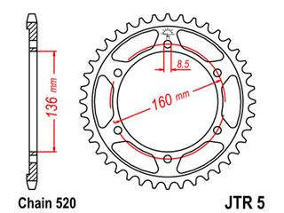 JT SPROCKETS Rear Sprocket 43 Teeth Steel Standard 520 Pitch Type 5