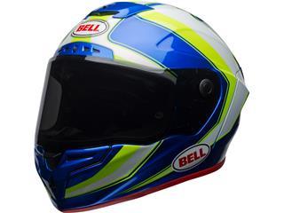 BELL Race Star Helmet Gloss White/HI-VIZ Green/Blue Sector Size XL