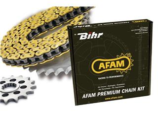 Kit chaine AFAM 428 type MX (couronne ultra-light anodisé dur) KAWASAKI KX80 - 48010299
