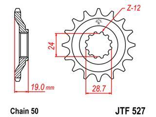 Pignon JT SPROCKETS 17 dents acier pas 530 type 527 - 46052717