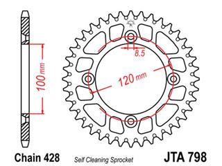 Bakdrev JT Aluminium Ultra-light Sefl-cleaning 52 Kuggar - typ 798 - 428 Pitch Yamaha YZ85  JTA798.52