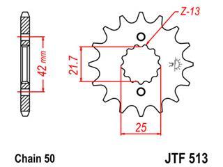 Pignon JT SPROCKETS 15 dents acier pas 530 type 513 - 46051315