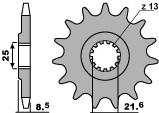 Pignon 16 dents PBR chaîne 525 KAWASAKI ZX-9R