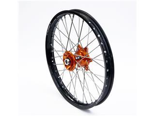 ART Compleet Voorwiel 21x1,60x36T Zwart Velg/Oranje Naaf/Zilver Spaaken/Zilver Spaakennippel