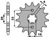 Pignon PBR 14 dents acier standard pas 520 type 514 Kawasaki KX125 - 46451414
