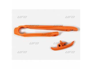 Kit patin de bras oscillant + patin de chaîne inférieur UFO orange KTM - 78553753