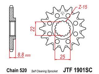 Selbstreinigendes JT Sprockets Stahlritzel, 13 Zähne, Kette 520 KTM EXC125
