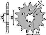 Pignon PBR 15 dents acier standard pas 428 type 517 Kawasaki KDX125
