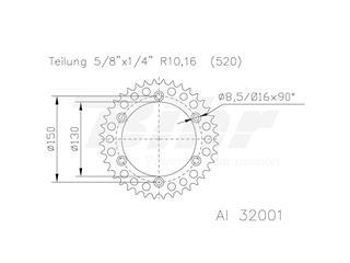 Corona ESJOT Aluminio negro 51-32001-50BP dientes - 10155657-cebf-4502-a641-99c1e7a0a6a5