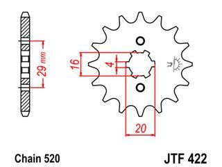 JT SPROCKETS Front Sprocket 13 Teeth Steel Standard 520 Pitch Type 422