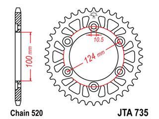 Bakdrev JT 45-Kuggar Aluminium JTA735-45