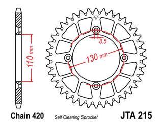 Alu-Kettenrad JT SPROCKETS 50 Zähne ultralight, selbstreinigend Typ 215, Kette 420 Honda