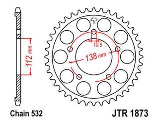 Bakdrev JT Stål 48 Kuggar - typ 1873 - 520 Pitch  JTR1873.48