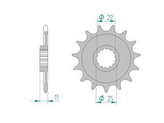 Pignon AFAM 15 dents acier standard pas 520 type 37400 Aprilia MXV 450