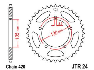 JT SPROCKETS Rear Sprocket 51 Teeth Steel Standard 420 Pitch Type 24