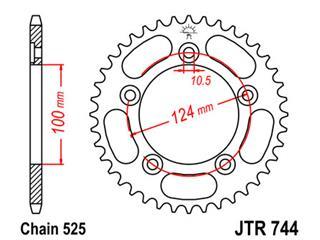 JT SPROCKETS Rear Sprocket 39 Teeth Steel Standard 525 Pitch Type 744