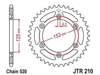 JT SPROCKETS Kroonwiel 49 tanden standaard staal kampeerplaats 520 type 210