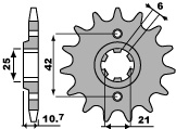 Pignon PBR 17 dents acier standard pas 530 type 338 Honda CB500
