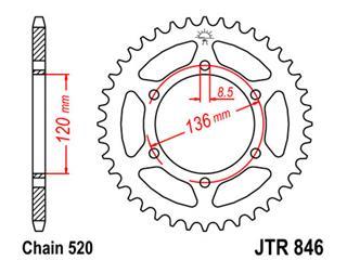 Couronne JT SPROCKETS 45 dents acier pas 520 type 846 - 47084645