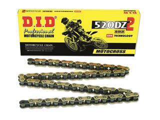 Chaîne de transmission D.I.D 520 DZ2 or/noir 122 maillons - 455822