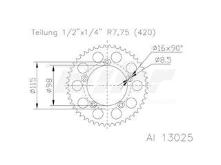 Corona ESJOT Aluminio 51-13025 48 dientes - 41845