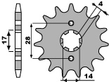 Pignon PBR 12 dents acier standard pas 428 type 2118 - 46001350