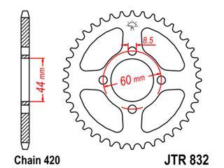 Couronne JT SPROCKETS 49 dents acier pas 420 type 832 - 47083249